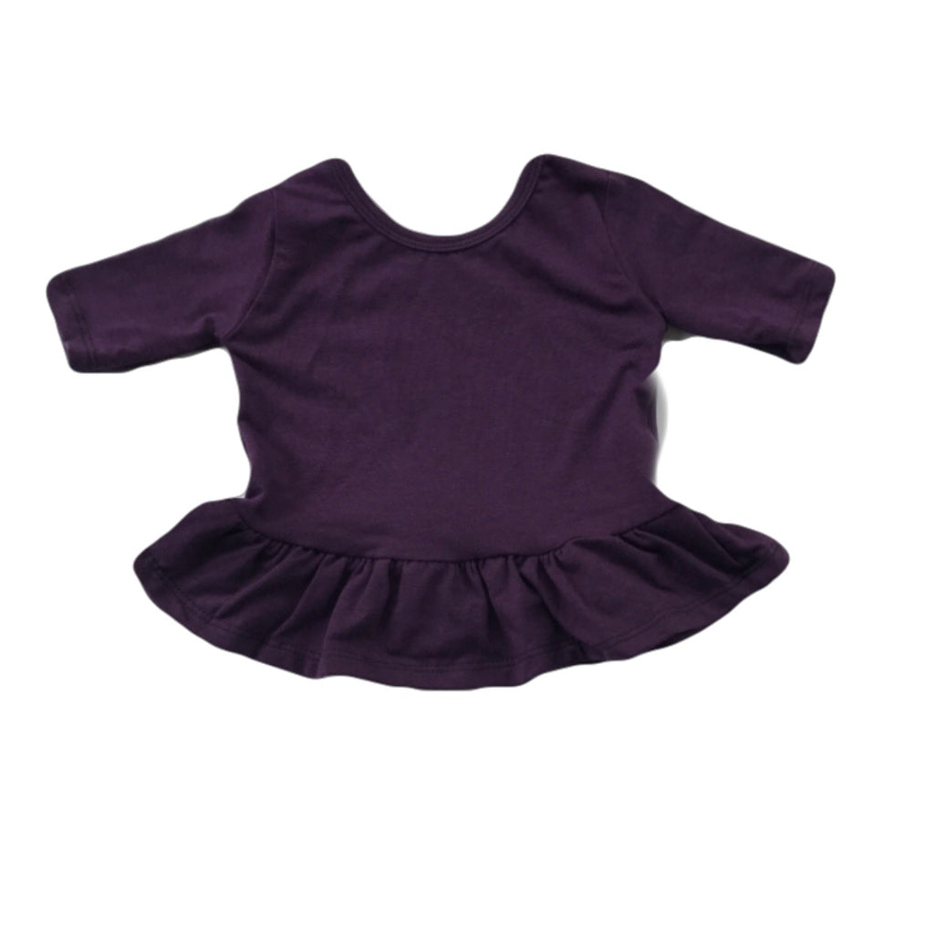 Plum Three Quarter Sleeve Peplum Top