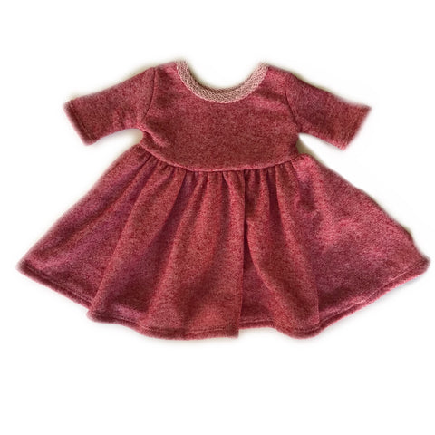 Pomegranate French Terry Three Quarter Sleeve Twirly Dress