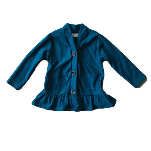 Blue Spruce Fleece Peplum Cardigan