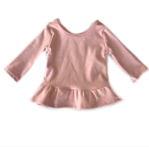 Dusty Pink Fleece Peplum Top