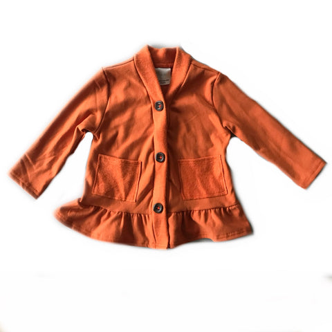 Rust Fleece Peplum Cardigan