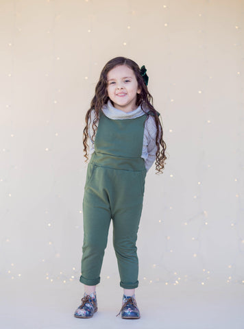 Ruffle Strap Pocket Overall in Moss