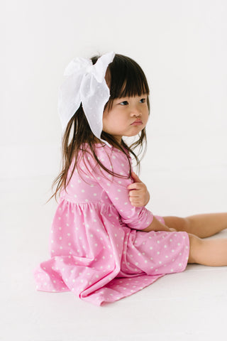 Darling Dots Three Quarter Sleeve Twirly Dress
