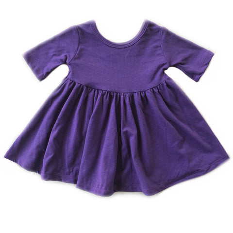 Eggplant Three Quarter Sleeve Twirly Dress
