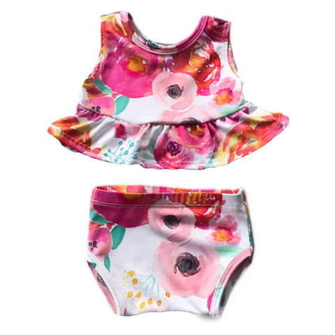 Floral Peplum Bathing Suit