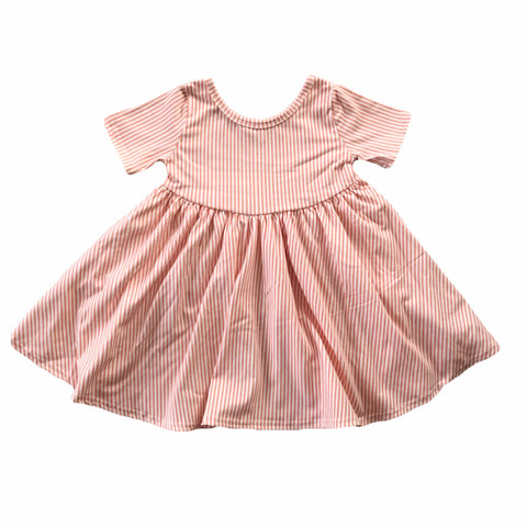 Peach Stripe Short Sleeve Twirly Dress