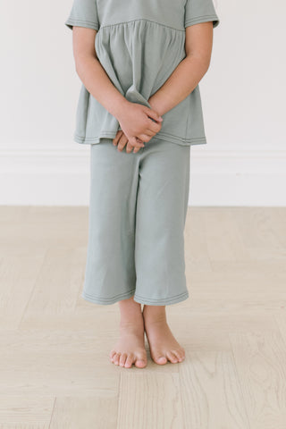 Sea Grass Organic Rib Knit Wide Leg Crop Pants
