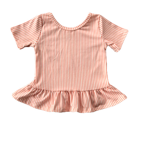 Peach Stripe Short Sleeve Peplum Top