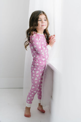 PREORDER Hearts in Darling Pink Bamboo PJ Set