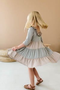 Colorblock Taupe and Dove Grey Three Quarter Sleeve Tiered Twirly Dress