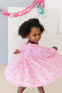 Pink Polka Dot Puff Sleeve Twirly Dress