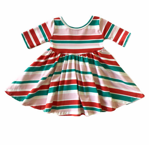 PREORDER Retro Candy Cane Stripe Three Quarter Sleeve Twirly Dress