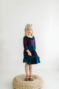 Colorblock Blue Spruce and Plum Three Quarter Sleeve Tiered Twirly Dress