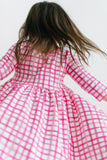 Poppy Plaid Three Quarter Sleeve Twirly Dress