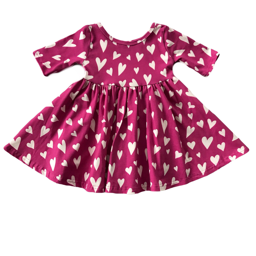 Magenta with White Heart Three Quarter Sleeve Twirly Dress