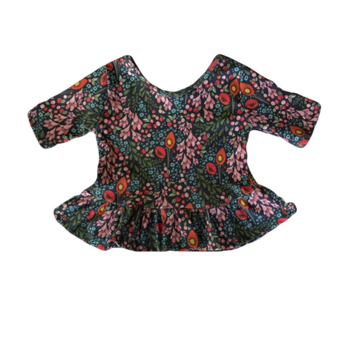 Blue Trailing Blooms Three Quarter Sleeve Peplum Top