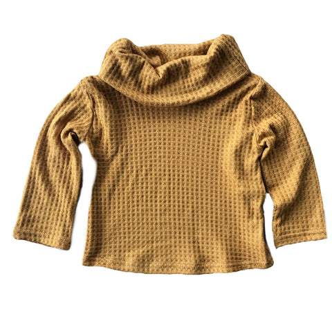 Mustard Waffle Knit Cowl Neck Top