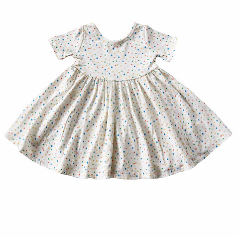 Sprinkle Dot Short Sleeve Twirly Dress