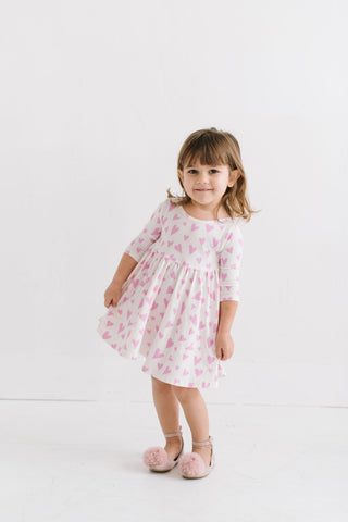 PREORDER Inverse Hearts in Darling Pink Three Quarter Sleeve Twirly Dress