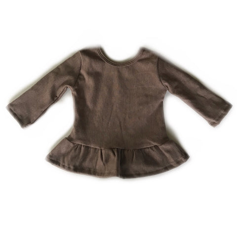 Heathered Chocolate Fleece Peplum Top