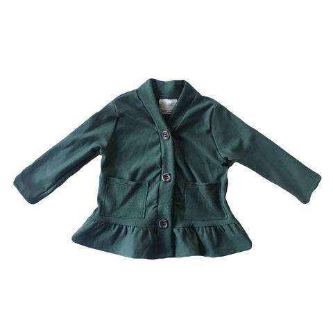 Pine Fleece Peplum Cardigan