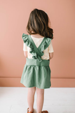 Ruffle Strap Pocket Pinafore in Juniper