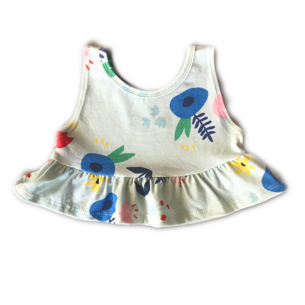 Light Blue American Garden Crop Peplum Tank