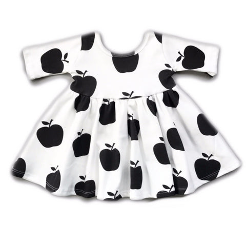 Apple Three Quarter Sleeve Twirly Dress