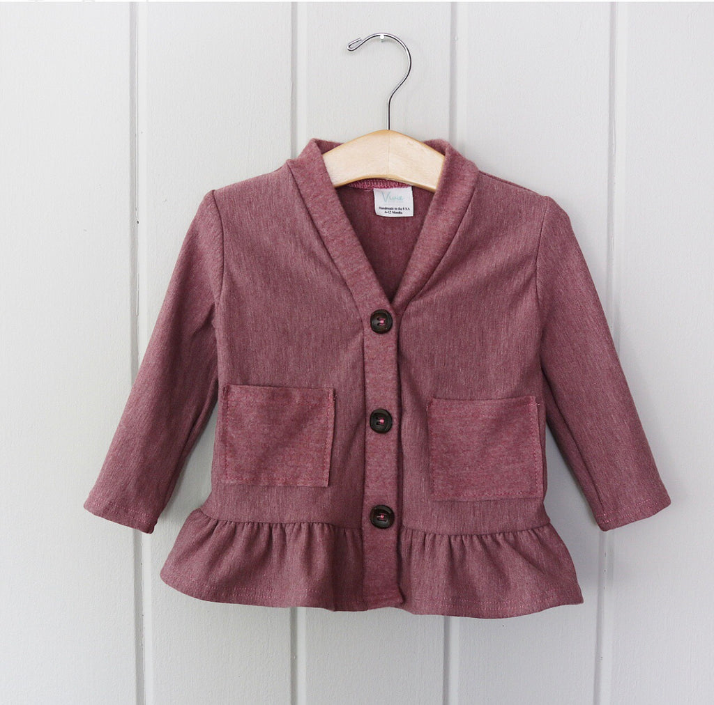 Heathered Rosewood Bamboo Fleece Peplum Cardigan