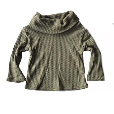 Sage Green Waffle Knit Cowl Neck Top