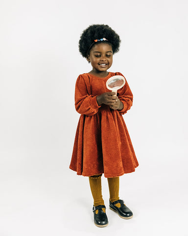 Ginger Stretch Corduroy Puff Sleeve Twirly Dress