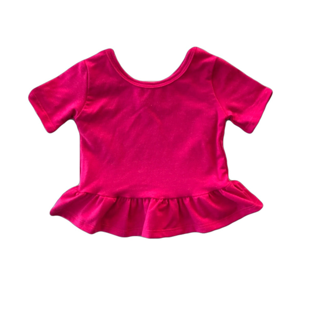 Raspberry Short Sleeve Peplum Top