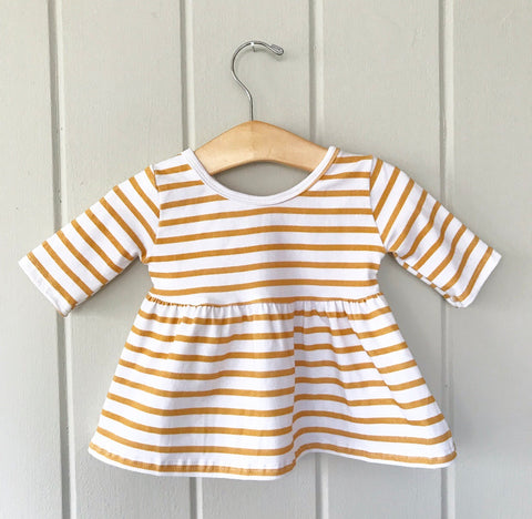 Mustard Stripe Three Quarter Sleeve Swing Top