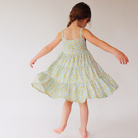 Mint Flower Field Three Tier Twirly Dress