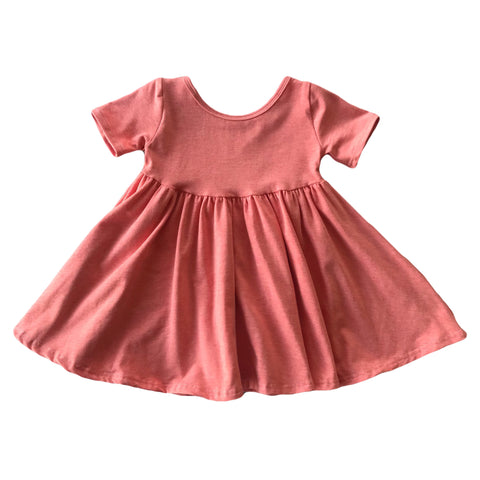 Heathered Peach Short Sleeve Twirly Dress