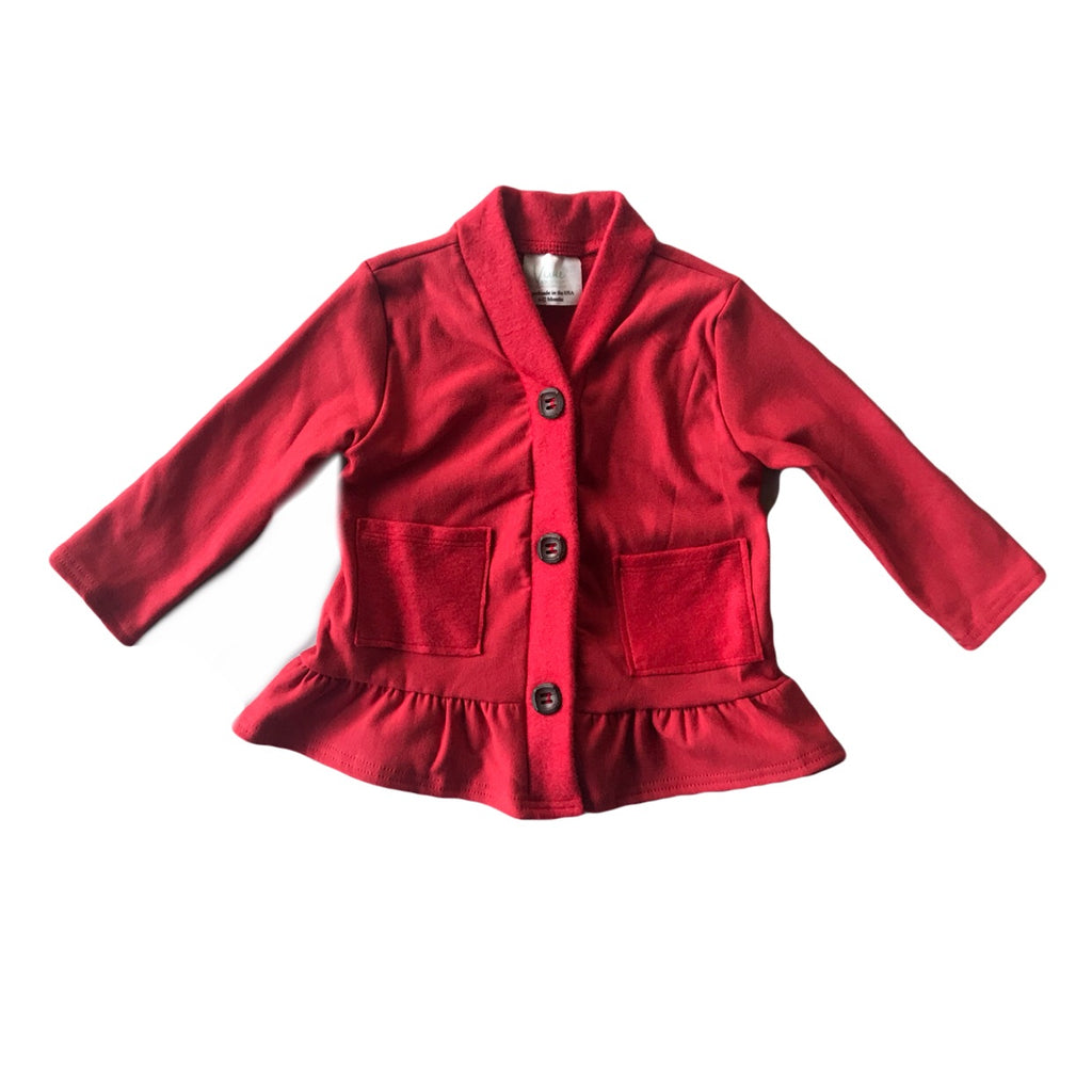 Cherry Fleece Peplum Cardigan