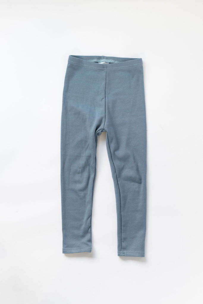 Harbor Blue Organic Rib Knit Leggings
