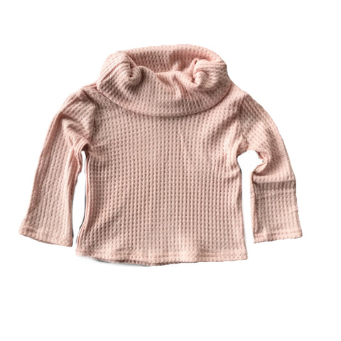 Blush Pink Waffle Knit Cowl Neck Top