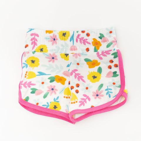 Tropical Floral with Aurora Pink Binding Retro Shorts