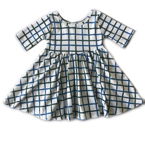 Grid in Pine and Blue Spruce Three Quarter Sleeve Twirly Dress