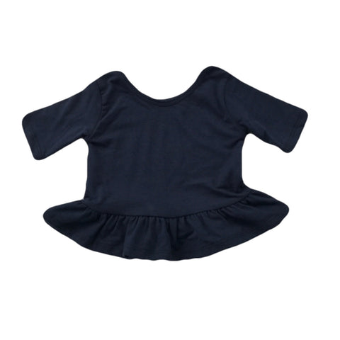 Midnight Blue Three Quarter Sleeve Peplum Top