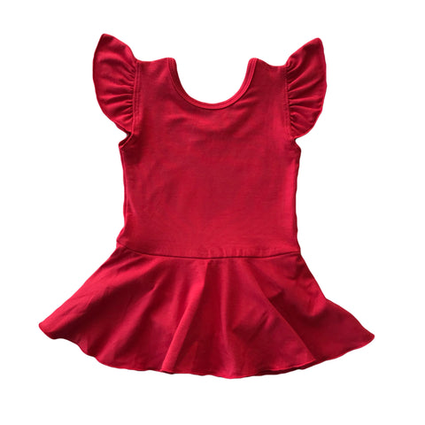 Cherry Bamboo Knit Flutter Sleeve Skirted Leotard