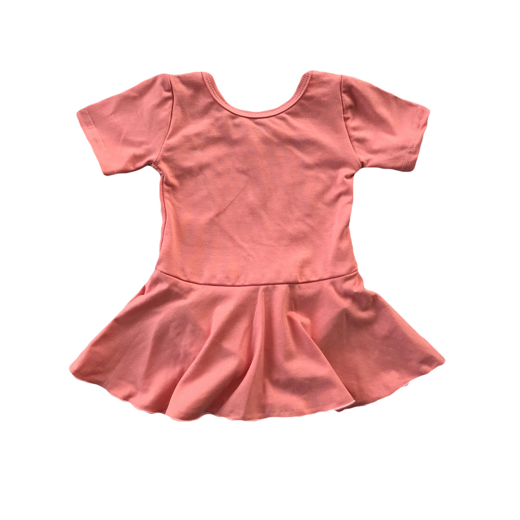 Peach Bamboo Knit Skirted Leotard