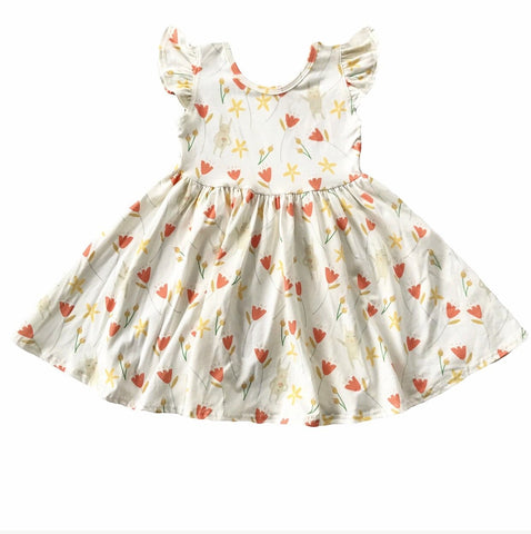 PREORDER Tulip Bunny Floral Flutter Sleeve Twirly Dress
