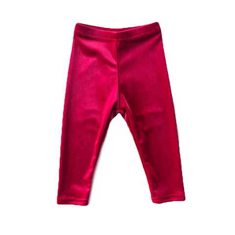 Magenta Velvet Leggings