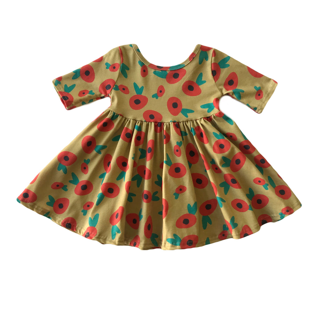 Gilded Holiday Floral Three Quarter Sleeve Twirly Dress