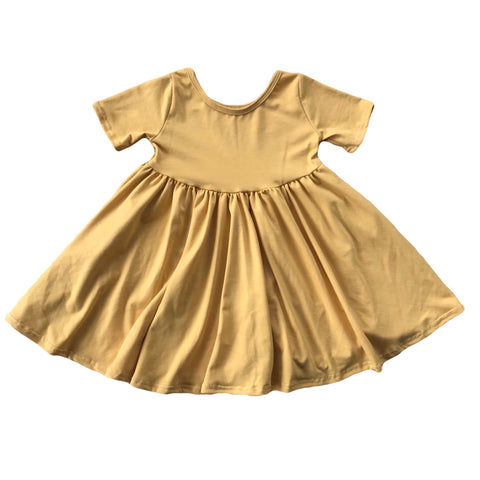 Golden Short Sleeve Twirly Dress