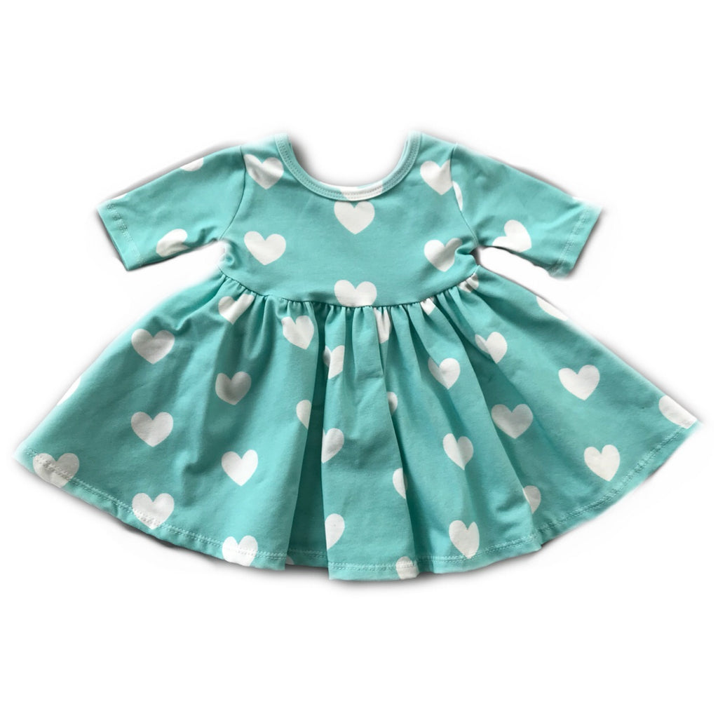 Mint with White Heart Three Quarter Sleeve Twirly Dress