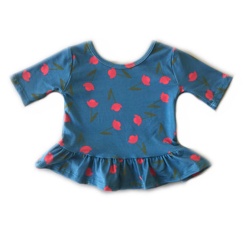 Poppy Blue Spruce Floral Three Quarter Sleeve Peplum Top