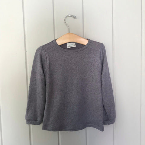 Pewter Cotton Modal Long Sleeve Sweater